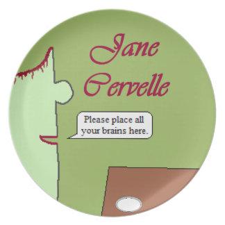Coloque la placa pie Jane de la melamina de los Platos