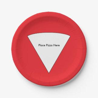 """""""Coloque las placas de papel de la pizza aquí"""" Plato De Papel De 7 Pulgadas"""