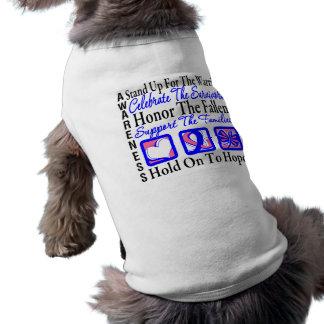 Coloqúese para arriba celebran el honor - cáncer d camisas de perritos