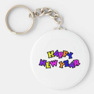 Color 4 de la Feliz Año Nuevo Llavero Redondo Tipo Pin