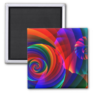 Color 7 Cool Modern Abstract Fractal Art 2 Inch Square Magnet