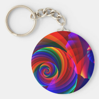 Color 7 Cool Modern Abstract Fractal Art Basic Round Button Keychain
