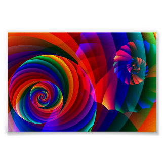 Color 7 Cool Modern Abstract Fractal Art Poster