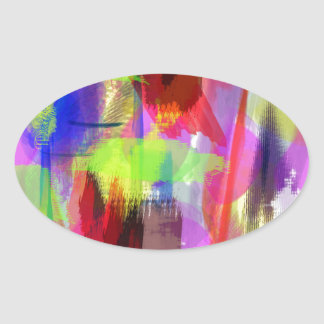 color abstract (8) oval sticker