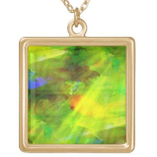 color abstract seamless background green, yellow square pendant necklace