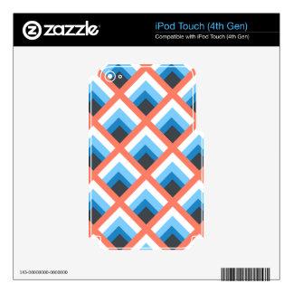 Color abstracto azul rosado de los diseños calcomanías para iPod touch 4G