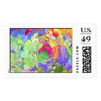 Color abstracto brillante sello postal