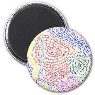 Color abstracto colorido de la imagen del dibujo d imán redondo 5 cm