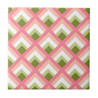 Color abstracto verde rosado de los diseños azulejo cuadrado pequeño
