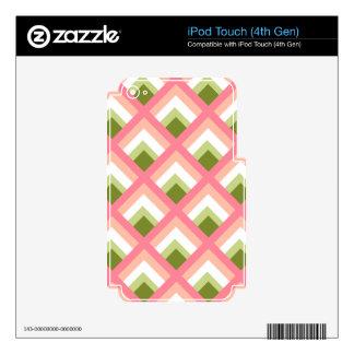 Color abstracto verde rosado de los diseños calcomanía para iPod touch 4G