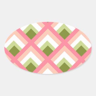 Color abstracto verde rosado de los diseños geomét pegatina de óval personalizadas