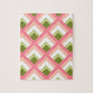 Color abstracto verde rosado de los diseños geomét puzzles