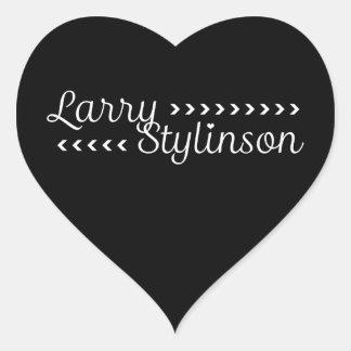 Color adaptable de Larry Stylinson blanco y negro Pegatina En Forma De Corazón
