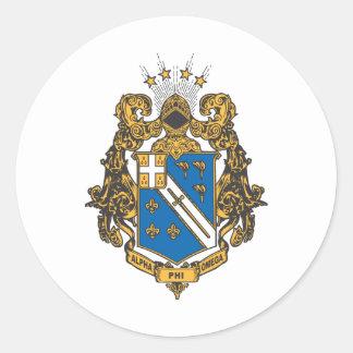 Color alfa de Omega de la phi - escudo Pegatina Redonda