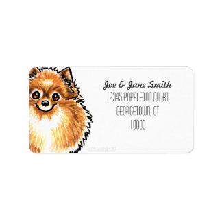 Color anaranjado del personalizado de Pomeranian Etiquetas De Dirección