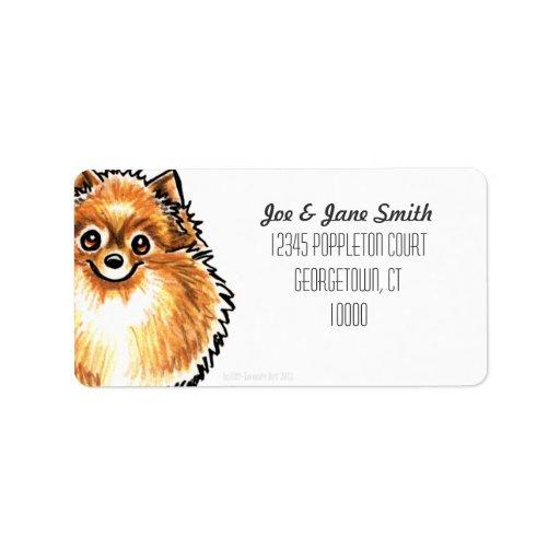 Color anaranjado del personalizado de Pomeranian Etiqueta De Dirección