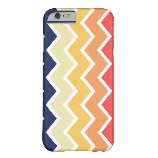 Color anaranjado y azul de los diseños geométricos funda de iPhone 6 barely there