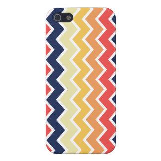 Color anaranjado y azul de los diseños geométricos iPhone 5 protector