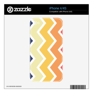 Color anaranjado y azul de los diseños geométricos iPhone 4 skins