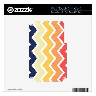 Color anaranjado y azul de los diseños geométricos iPod touch 4G skins