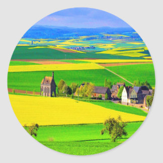 Color and Beauty oilseed rape landscape eifel Classic Round Sticker