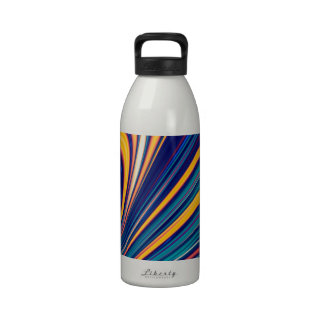 Color and Form - Curved Waves Flowing Lines Drinking Bottle