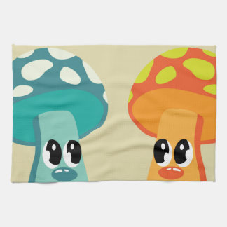 Color animated mushrooms hand towel