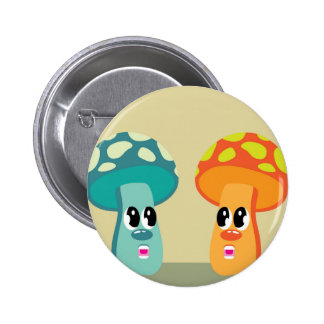 Color animated mushrooms pinback button