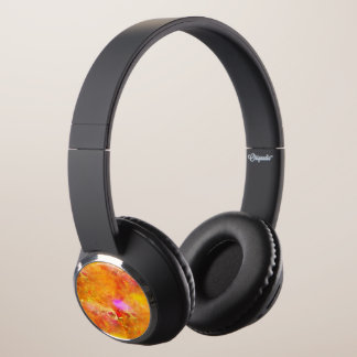 color art seamless background yellow, orange headphones