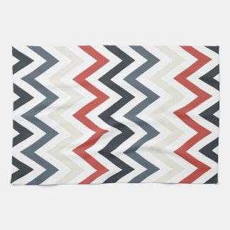 Color azul blanco rojo de los diseños geométricos toalla