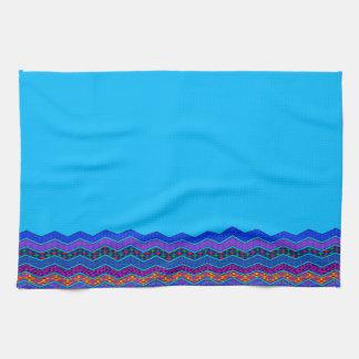 Color azul de los diseños geométricos del modelo toallas de cocina