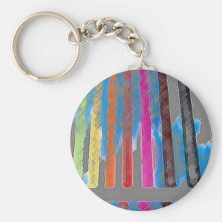 Color Band Rainbow Waterfall CricketDiane Basic Round Button Keychain