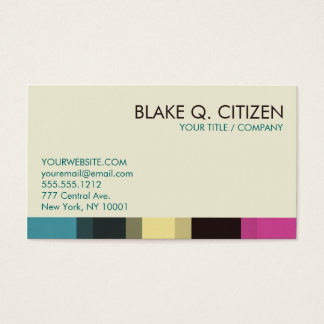 Color Bar Business Card - Chic blue pink cream