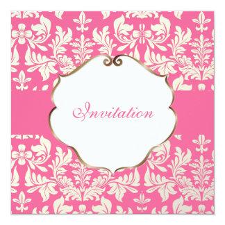 """Color barroco del damasco/Pink/DIY de PixDezines Invitación 5.25"""" X 5.25"""""""