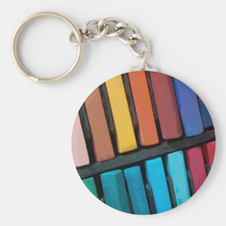 Color Bars Basic Round Button Keychain