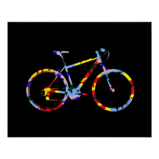 color bicycle - biking decor poster