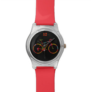 color bicycle on black wristwatch