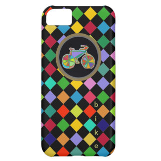 color bike and squares pattern cover for iPhone 5C