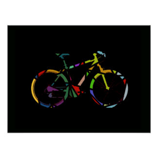 color bike décor for walls poster