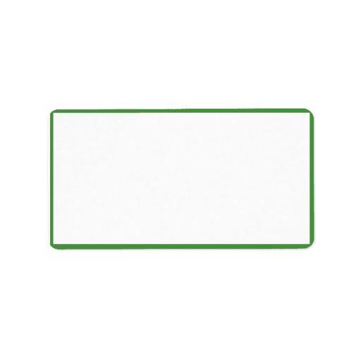 Color blanco con las fronteras verdes finas etiqueta de dirección