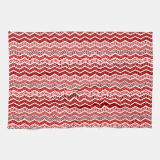 Color blanco rojo de los diseños geométricos de toallas de cocina