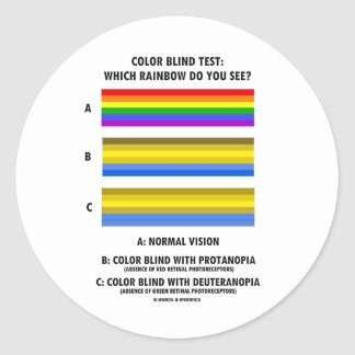 Color Blind Test (Colors Of Rainbow Vision Test) Classic Round Sticker