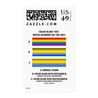 Color Blind Test Which Rainbow Do You See? Postage