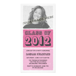 Color Block 2012 Graduation Party Invites - pink