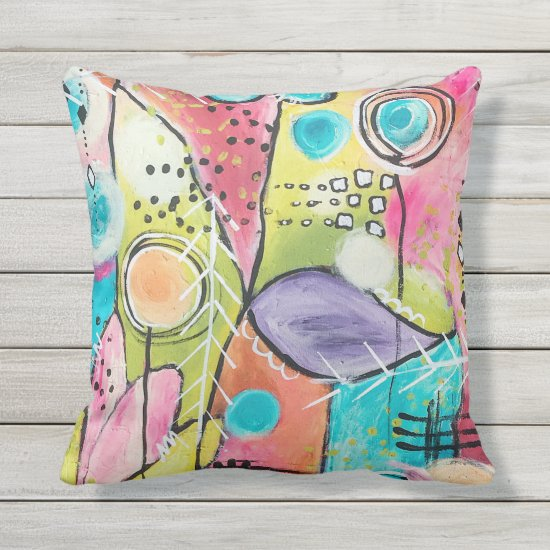 Color Block Abstract Artistic Pink Blue Red Purple Throw Pillow