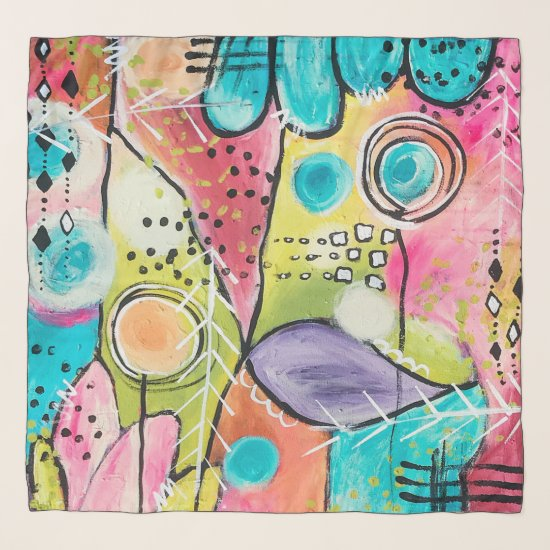 Color Block Abstract Colorful Vibrant Artistic Fun Scarf
