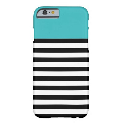 Color Block Aqua Black White Stripe iPhone 6 Cases Barely There iPhone 6 Case