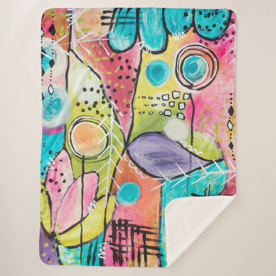 Color Block Artistic Abstract Colorful Multi Color Sherpa Blanket
