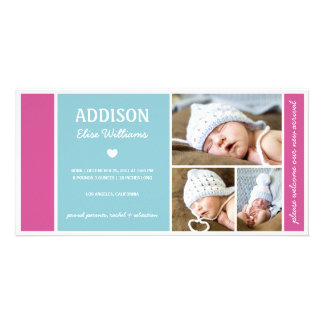 COLOR BLOCK | BABY GIRL BIRTH ANNOUNCEMENT PHOTO GREETING CARD