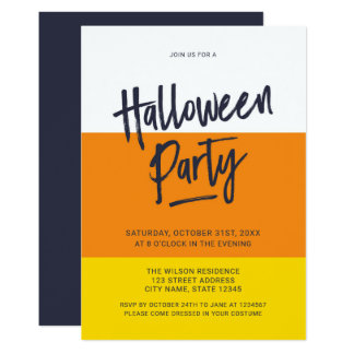 Color Block Candy Corn Halloween Party Invitation